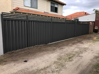 colourbond sliding gate with slats